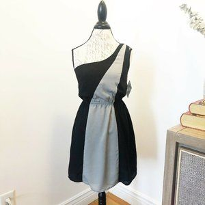 One Shoulder Gray and Black Short Dress Small NWT